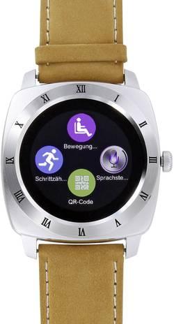 """Chytré hodinky Smartwatch Xlyne Nara XW Pro CL, 3.1 cm, 1.22 """", stříbrná, hnědá"""