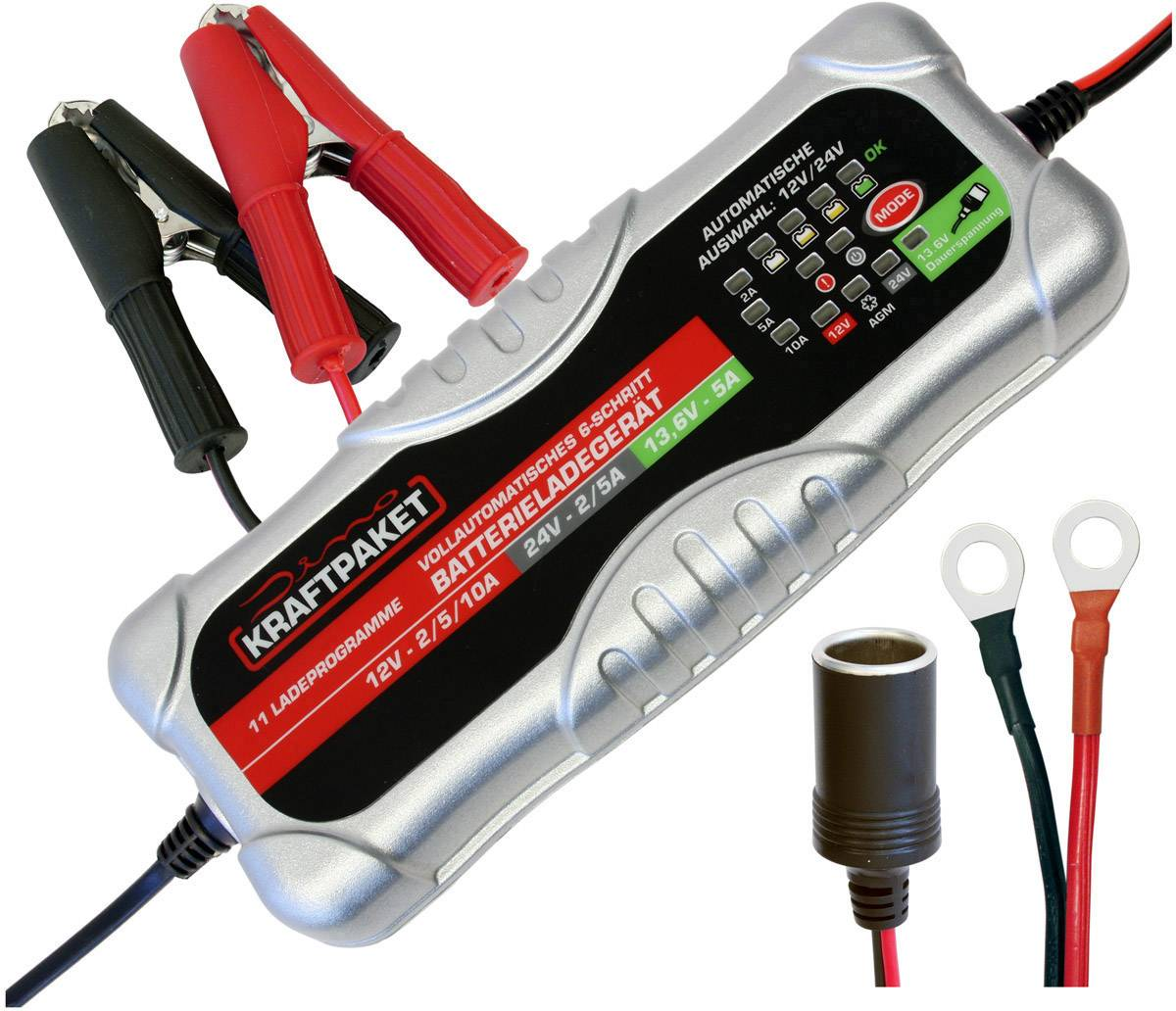Dino KRAFTPAKET 136302 Automatikladegerät, Batterie Ladungsausgleicher, Kfz Ladegerät 10 A, 5 A, 2 A 5 A, 2 A