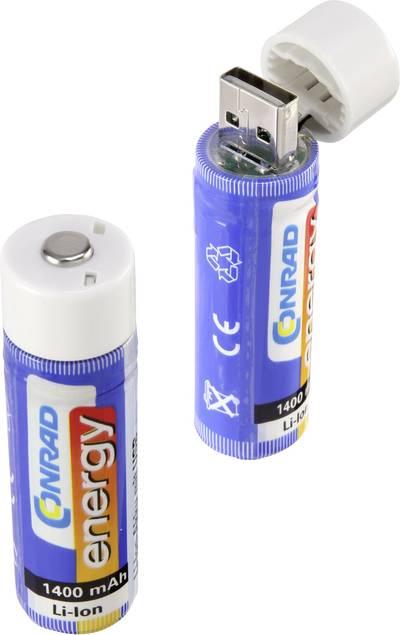 Batteria ricaricabile speciale 18650 Li-Ion Conrad energy 18650 USB 3.7 V 1400 mAh