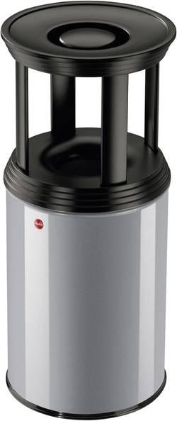 Odpadkový koš s popelníkem Hailo ProfiLine Combi plus L, 740 mm, Ø 330 mm, 30 l, stříbrnošedá, černá