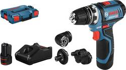 Aku vrtací šroubovák Bosch Professional GSR 12V-15 FlexiClick 06019F6000, 12 V, 2 Ah, Li-Ion akumulátor