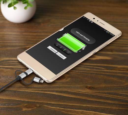 renkforce 3-in-1 Micro-USB/Lightning/USB-C™ Lade- & Sync-Kabel 0.25 m