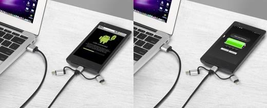 renkforce 3-in-1 Micro-USB/Lightning/USB-C™ Lade- & Sync-Kabel 0.5 m