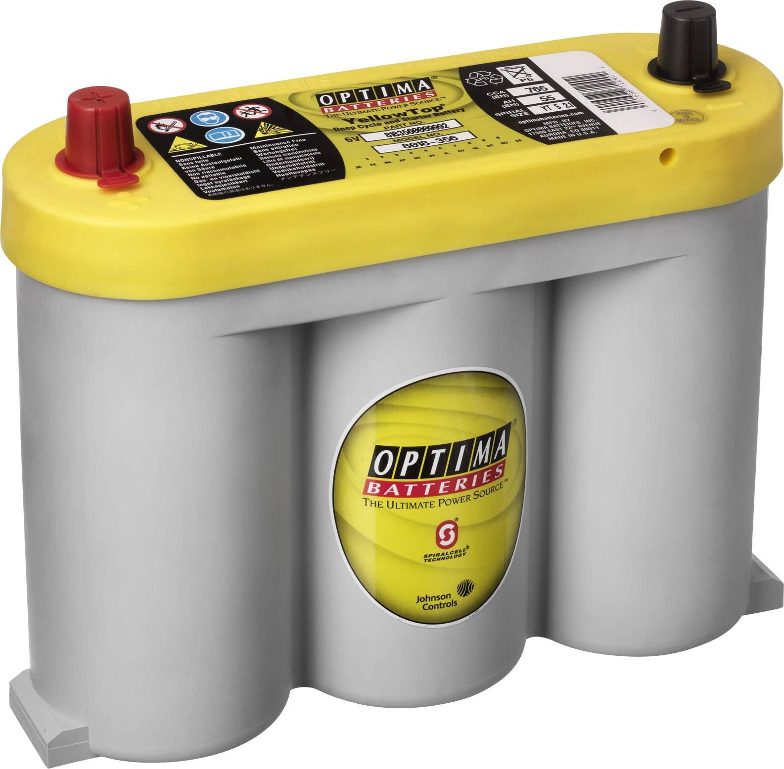 Optima Batteries YT S 2.1 818356000 8882 Bleiakku 6 V 55 Ah Blei Vlies (AGM) (B x H x T) 255 x 206 x 90 mm Konuspol Wart