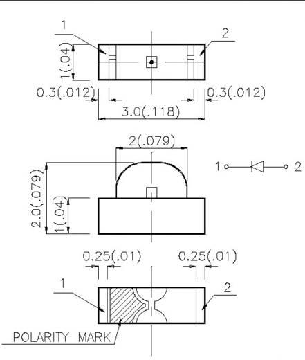 SMD-LED 1104 Rot 12 mcd 120 ° 20 mA 2 V KPA-3010EC