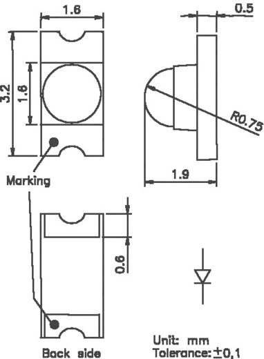 SMD-LED 1206 Weiß 750 mcd 40 ° 15 mA 3.7 V OSA Opto OLS-330MW