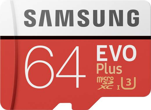 Samsung EVO Plus microSDXC-Karte 64 GB Class 10, UHS-I, UHS-Class 3 inkl. SD-Adapter