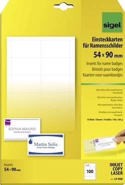 Image of Sigel Einsteckschild Namensschild 54 mm x 90 mm Weiß 100 St./Pack. LP898