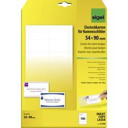 Image of Sigel LP898 Einsteckschild Namensschild 54 mm x 90 mm Weiß 100 St./Pack.