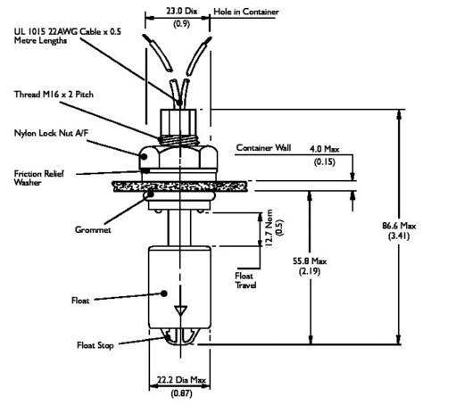 TE Connectivity Sensor VS 303-51 Schwimmerschalter 250 V/AC, 100 V/DC 1 A 1 Schließer, 1 Öffner IP65 1 St.