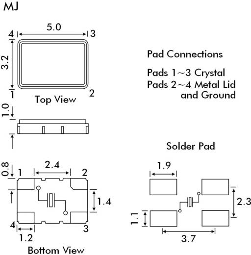 Quarzkristall EuroQuartz QUARZ SMD 3X5 SMD-4 14.74560 MHz 12 pF 5 mm 3.2 mm 1 mm