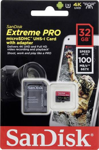 MicroSDHC Karte 32 GB SanDisk ExtremeR Pro Class 10 UHS I