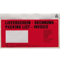 Image of Dokumententasche DIN lang Rot Lieferschein-Rechnung, mehrsprachig mit Selbstklebung 250 St./Pack. 250 St.