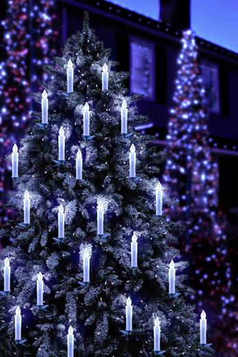 Funk-Weihnachtsbaum-Beleuchtung Außen batteriebetrieben 20 LED Warm ...
