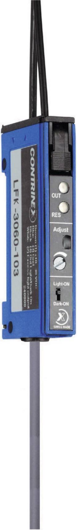 Zesilovač optických vláken na DIN lištu Contrinex LFK-3060-103, kabel 2 m, světlo/tma