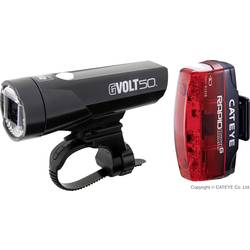 Image of Cateye Fahrradbeleuchtung Set GVOLT50 + RAPID MICRO G LED akkubetrieben Schwarz, Rot