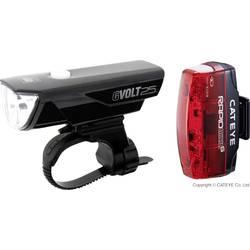Image of Cateye Fahrradbeleuchtung Set GVOLT25 + RAPID MICRO G LED akkubetrieben Schwarz, Rot