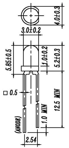 LED bedrahtet Gelb Rund 3 mm 200 mcd 40 ° 20 mA 2 V Everlight Opto 204-10UYD/S530-A3