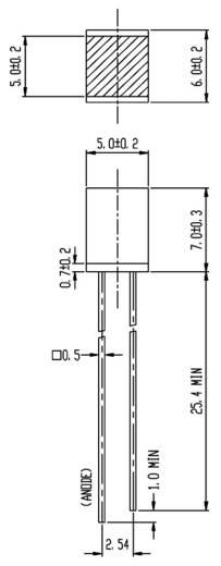 LED bedrahtet Grün Quadratisch 5 x 5 mm 5 mcd 170 ° 20 mA 2 V Everlight Opto 583SYGD/S530-E2