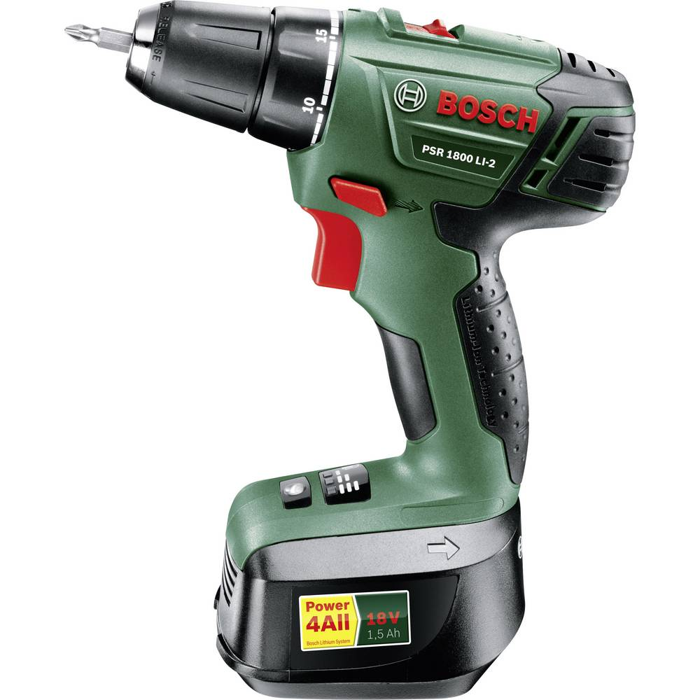 bosch home and garden psr 1800 li 2 cordless drill 18 v 1 5 ah li ion incl third battery incl. Black Bedroom Furniture Sets. Home Design Ideas