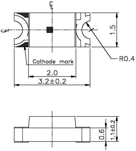 SMD-LED 1206 Rot 38 mcd 140 ° 20 mA 2 V Everlight Opto 15-21SURC/S530-A2/TR8