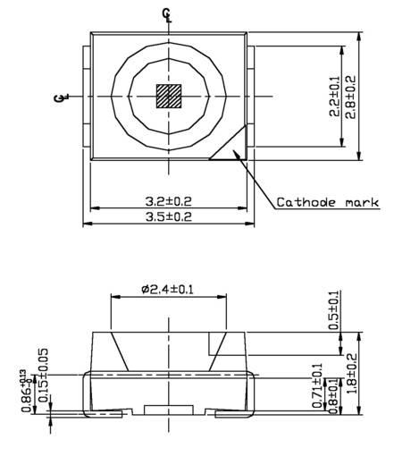 SMD-LED PLCC2 Grün 1.6 mcd 120 ° 2 mA 2.1 V Everlight Opto 67-21SYGC/S530-E3/S6505/TR8