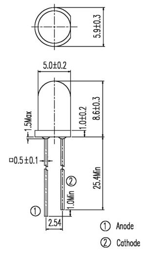 Everlight Opto IR 333 IR-Emitter 940 nm 20 ° 5 mm radial bedrahtet