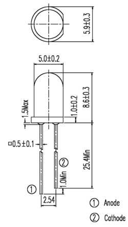 IR reflektor Everlight Opto IR333, IR 333, 940 nm, 20 °, 5 mm, radiálne vývody