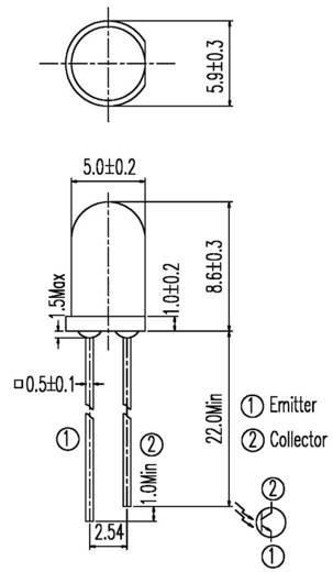 Fototransistor 5 mm 1100 nm Everlight Opto PT331C=PT333-3C