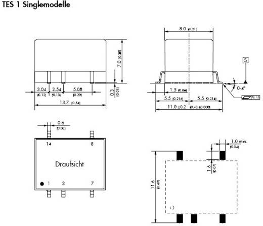 TracoPower TES 1-1211 DC/DC-Wandler, SMD 12 V/DC 5 V/DC 200 mA 1 W Anzahl Ausgänge: 1 x