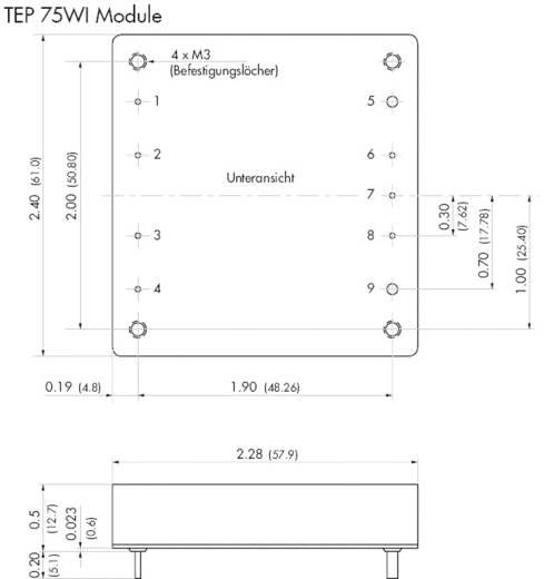 DC/DC-Wandler-Baustein TracoPower TEP 75-4815WI 48 V/DC 24 V/DC 3.2 A 75 W Anzahl Ausgänge: 1 x