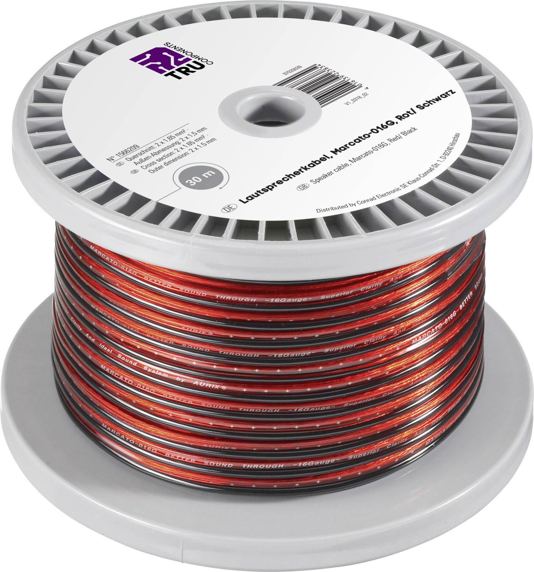 Lautsprecherkabel rot//schwarz 100 m Spule Querschnitt 2 x 2,5 mm²