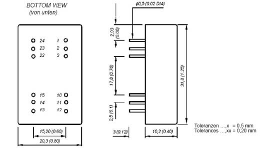HN Power SIM5-2415D DC/DC-Wandler, Print 24 V/DC 15 V/DC, -15 V/DC 100 mA 3 W Anzahl Ausgänge: 2 x