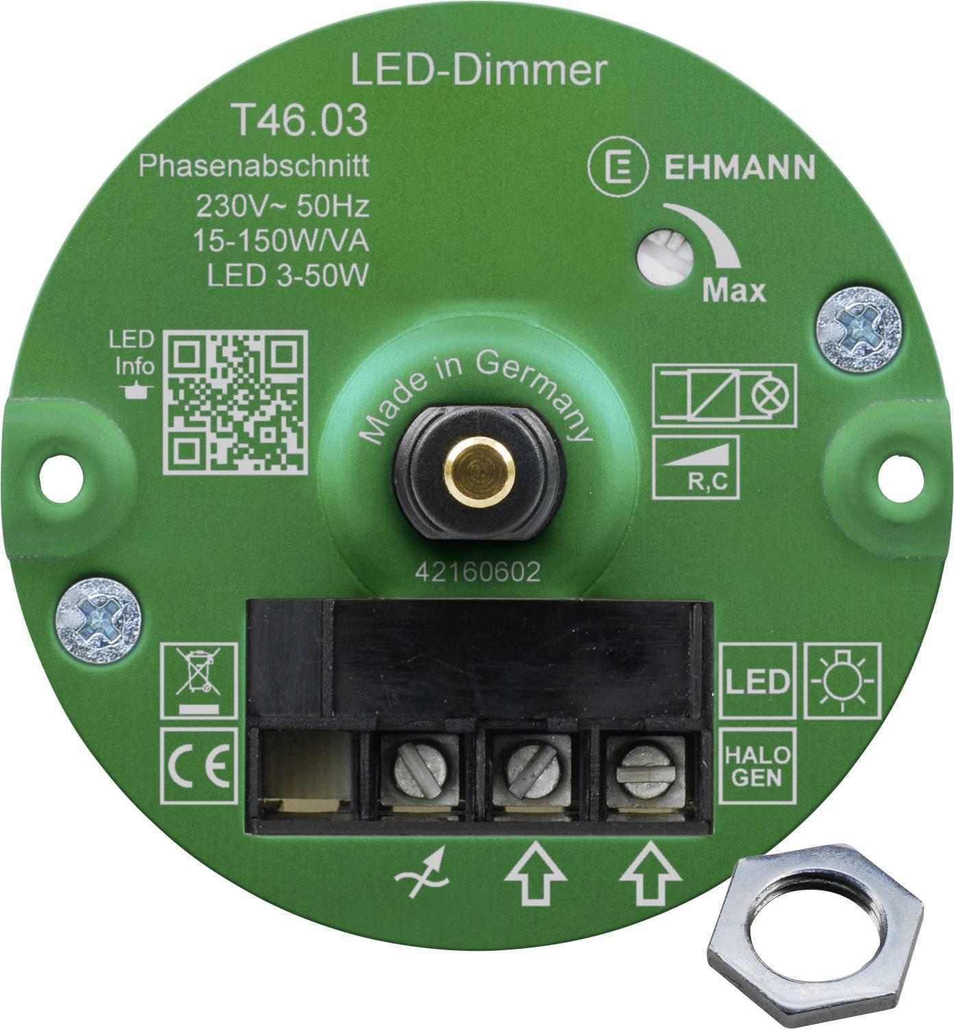 Ehmann 4660x0310ch Unterputz Dimmer Geeignet für Leuchtmittel: Glühlampe, Halogenlampe, LED Lampe Weiß