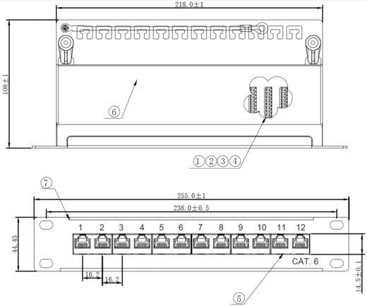 """12 Port Netzwerk-Patchpanel 25,4 cm (10"""") Renkforce CAT 6 1 HE"""