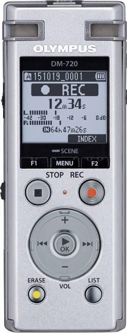 Digitální diktafon Olympus DM-720 Maximální čas nahrávání 985 h stříbrná