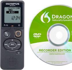 Digitální diktafon Olympus VN-541PC + Dragon Naturally Speaking 12 Maximální čas nahrávání 2080 h černá