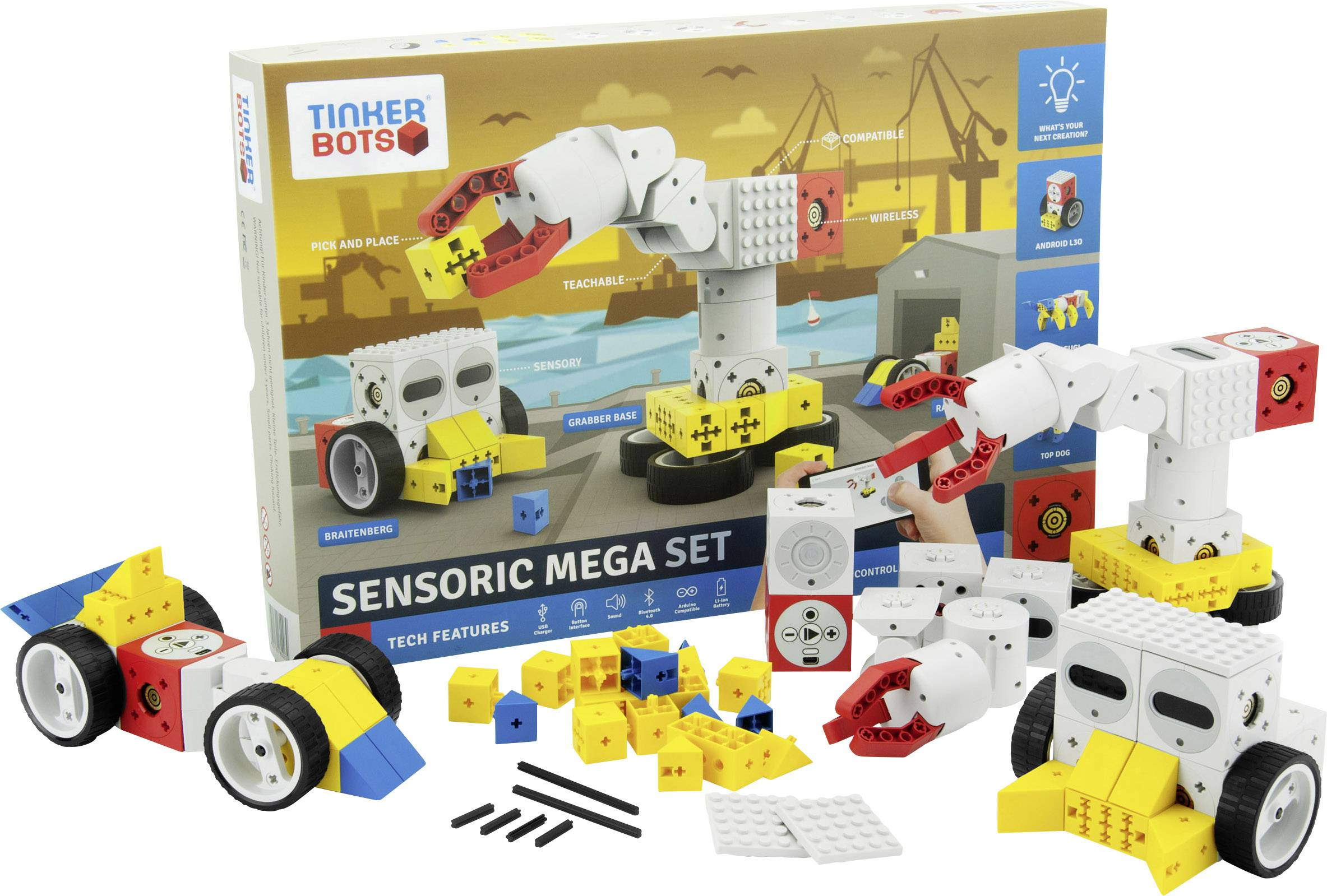 TINKERBOTS Roboter Bausatz Mega Robotics Set kompatibel mit LEGO und anderen Bausteinen