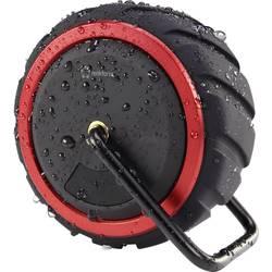 Bluetooth® reproduktor Renkforce AdventureWheel1 hlasitý odposlech, odolná vůči stříkající vodě, AUX, černočervená