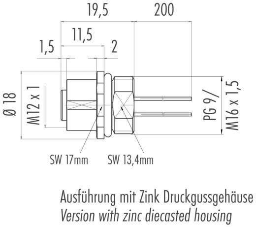 Flanschdose mit Litzen Einbaudose M12X1 Binder Inhalt: 1 St.