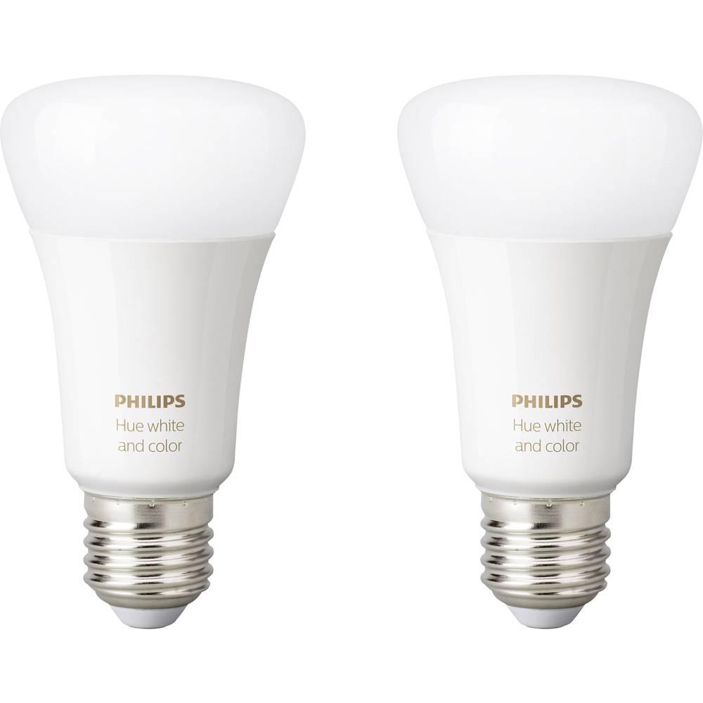 philips lighting hue led leuchtmittel 2er set white and color ambiance e27 10 w rgbw im conrad. Black Bedroom Furniture Sets. Home Design Ideas