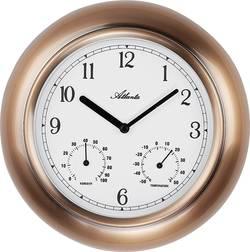 Vonkajšie nástenné hodiny s teplomerom a vlhkomerom Atlanta Uhren 4446, vonkajší Ø 255 mm, meď