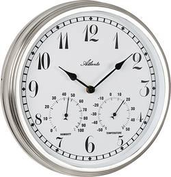 Vonkajšie nástenné hodiny s teplomerom a vlhkomerom Atlanta Uhren 4447, vonkajší Ø 300 mm, strieborná