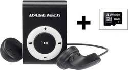 Lecteur MP3 Basetech BT-MP-100 8 Go noir/blanc clip de fixation