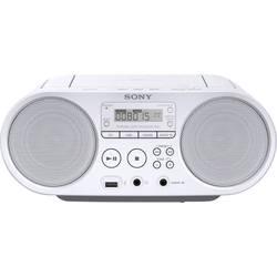 FM rádio s CD prehrávačom Sony ZS-PS50, AUX, CD, UKW, USB, biela