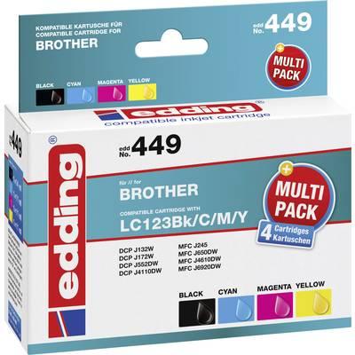 Edding Tinte ersetzt Brother LC-123 Kompatibel Kombi-Pack Schwarz, Cyan, Magenta, Gelb EDD Preisvergleich