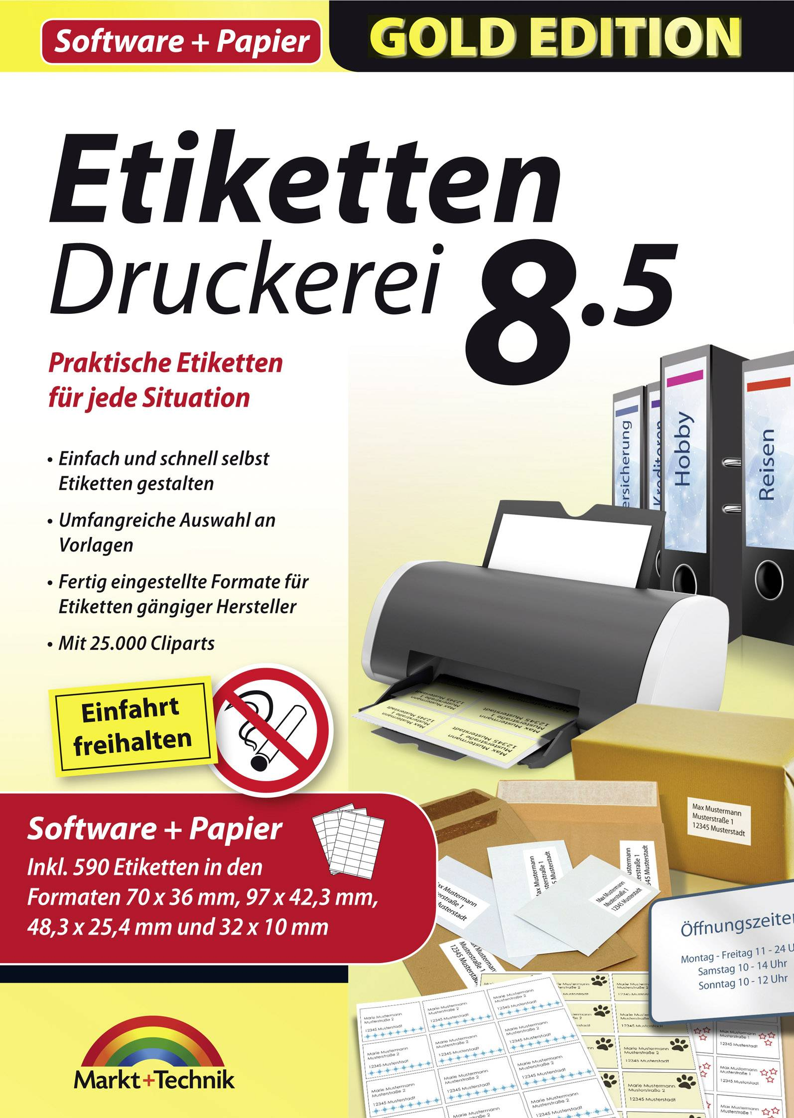 Markt Technik Etiketten Druckerei 8 5 Mit Papier Vollversion 1 Lizenz Windows Etikettendruck Software