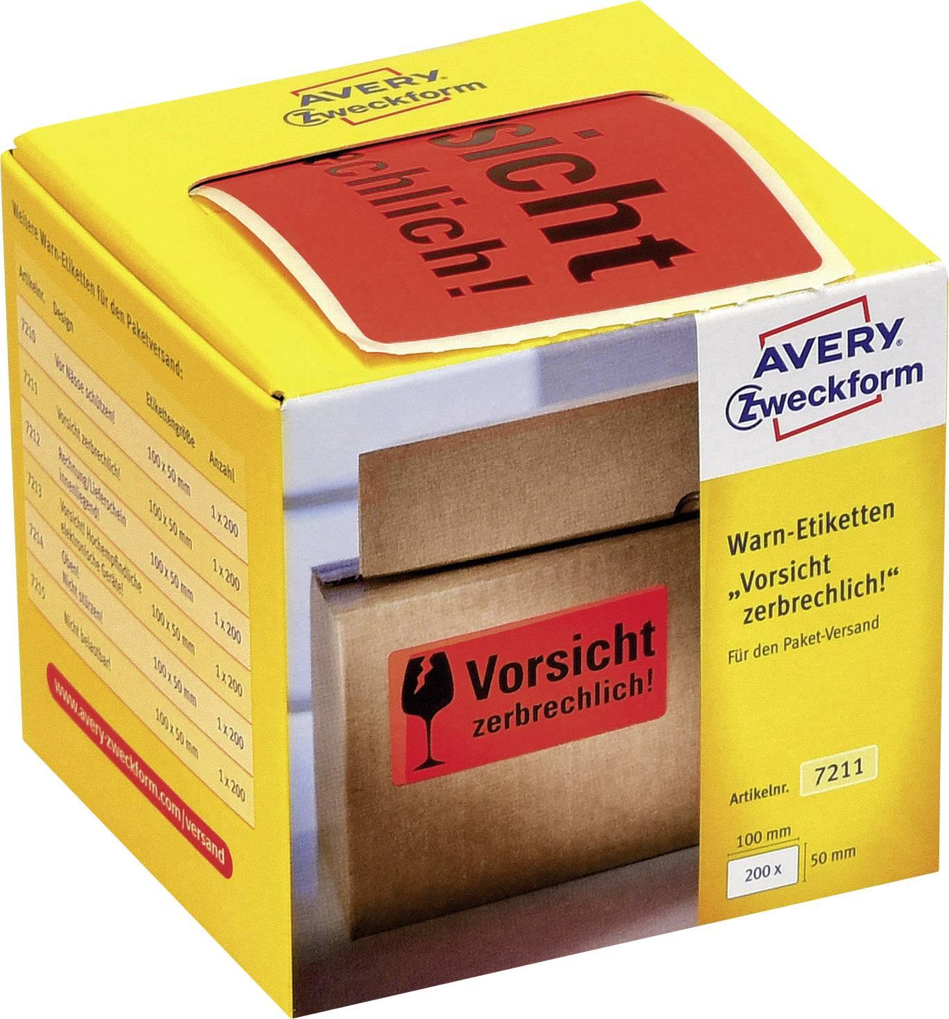 Avery Zweckform 7211 Warnetiketten 100 X 50 Mm Aufdruck Vorsicht Zerbrechlich 1 Rolle200 Etiketten Neonrot