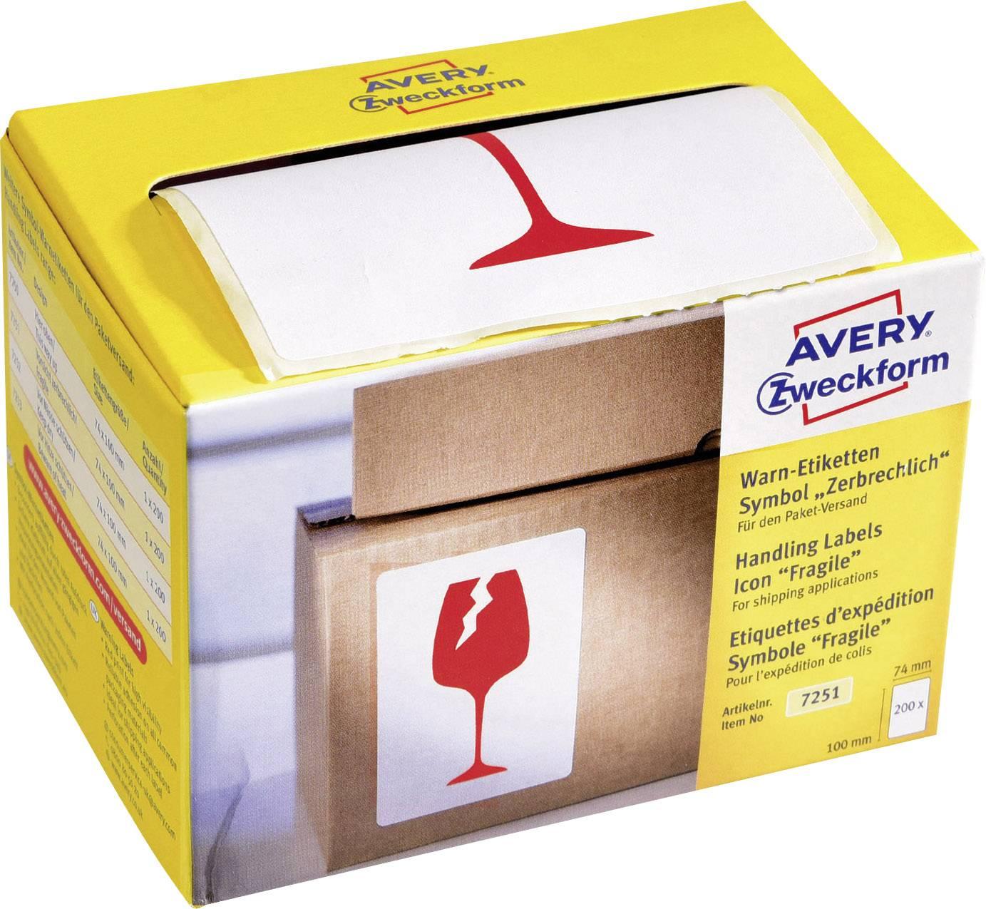 Avery Zweckform 7251 Symbol Warnetiketten 74 X 100 Mm Symbol Vorsicht Zerbrechlich 1 Rolle200 Etiketten Rot