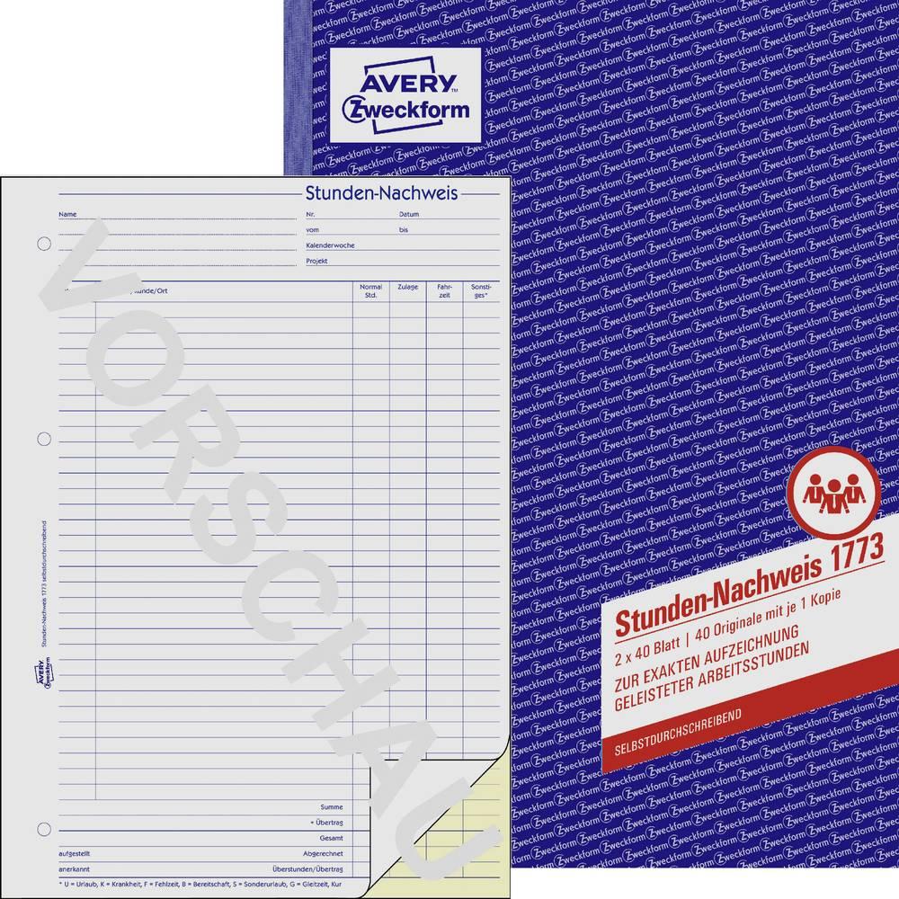 Avery Zweckform 1773 Stunden-Nachweis, A4, selbstdurchschreibend ...